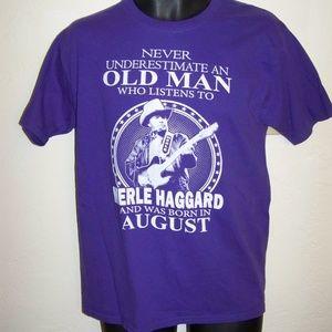 Merle Haggard old man purple t shirt size M